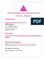 Three day Bangalore Workshop Jan 2019