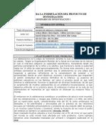 FORMATO PARA LA FORMULACIÓN DEL PROYECTO DE INVESTIGACIÓN