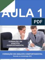 FORMAÇÃO EM ANALISTA COMPORTAMENTAL - SLIDES AULA 1