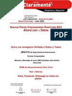 SEGMENTO NEGOCIOS  NUEVOS PLANES REACTIVATE MAS Julio 2020
