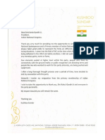 Khushbu Sundar's Resignation letter
