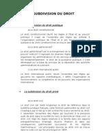 Droit - La subdivision du droit