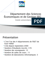 Département des Sciences Economiques et de G estion