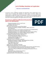 International Journal of Modelling, Simulation and Applications (IJMSA)