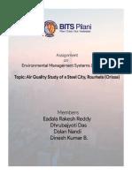 Air Quality Study of a Steel City, Rourkela (EMS Assignment - EEZG515)