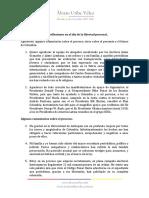 Declaración del expresidente Álvaro Uribe Vélez tras quedar en libertad