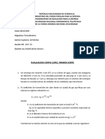 Evaluación corta (10%) . Primer corte . Termodinamica . Ingeniería de Petróleo