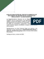 Proyecto de Reglamento de Inscripción de Cooperativas