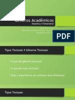 Gêneros Acadêmicos_resenha e Fichamento