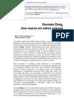 Germán Doig, vino nuevo en odres nuevos