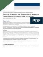 Recurso de amparo por denegación de pasaporte (para chilenos residentes en el extranjero)