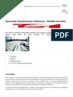 Demande d'autorisation d'absence - Modèle de lettre (1)
