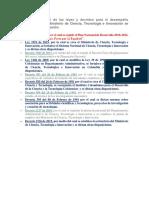 El Marco general de las leyes y decretos para el desempeño fundamental del Ministerio de Ciencia