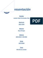 Cuestionario membrana celular Biologia II