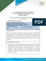 Guía de Actividades y Rúbrica de Evaluación - Unidad 2 - Tarea 3 - Identificación