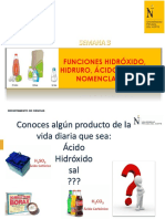 SEMANA 3 funcion Hidróxidos, Hidruros, Acidos y Sales
