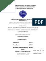Análisis De Costos Para Apertura De Nuevo Almacén De Mercancías A Empresa Comercializadora De Muebles Y Electrodomésticos (correccion borrador V)