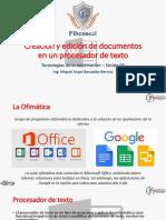 Sesión 05 - Creación y edición de documentos en un procesador de texto