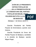 Esperanza Aguirre en la presentación de MA Celdrán Matute- Candidato Ayto Badajoz