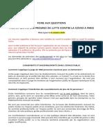 Mise en Oeuvre Des Mesures de Lutte Contre La Covid a Paris