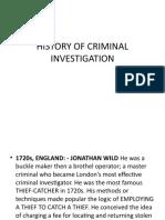 HISTORY OF CRIMINAL INVESTIGATION