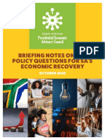 Briefing notes on key political questions for SA's economic recovery