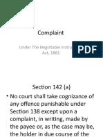 Complaint under NI Act sec 138