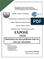 Elimination Des Micropolluants Dans Les Eaux Par Adsorption