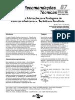 Calagem e Adubação de Pastagens de Panicum maximum cv. Tobiatã