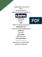 Análisis de aspectos gramaticales a partir del texto y La oración clases y estructura.