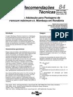 Calagem e Adubação de Pastagens de Panicum maximum cv. Mombaça