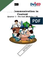 Vinzen Josh L. Borja - PRETEST-in-Oral-Communication (Answered)