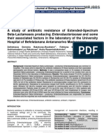 A study of antibiotic resistance of Extended-Spectrum Beta-Lactamases producing Enterobacteriaceae and some their associated factors in the laboratory of the University Hospital of Befelatanana Antananarivo Madagascar.