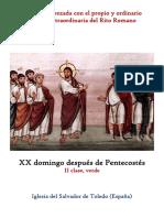 XX Domingo Despues de Pentecostés. Propio y Ordinario de la santa misa