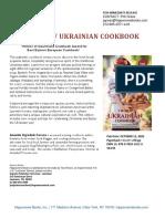 New Ukrainian Cookbook paperback edition press release