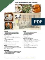 Menus de La Cuisine de Meme Moniq Du 3 Au 9 Octobre