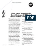 NASA Facts Space Shuttle Weather Launch Commit Criteria and KSC End of Mission Weather Landing Criteria 2005