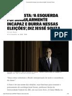 'A esquerda foi incapaz e burra nessas eleições', diz Jessé Souza