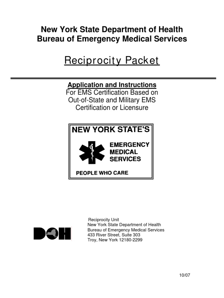 Reciprocitypacket Emergency Medical Technician Professional