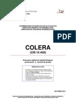 Cólera (CIE 10 A00).  Guía para Vigilancia  Epidemiológica, Prevención  y  Control de Brotes. Ministerio de Salud de Venezuela
