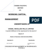 project report on oswal woolen mills
