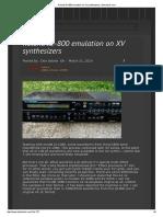 Roland JD-800 emulation on XV synthesizers