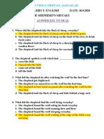 ANSWER KEY TO UNIT-13. THE SHEPHERD'S MISTAKE MCQs