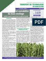 Productivité et rentabilitédu maïs ensilage
