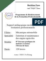 72. Entretien et maintenance des engins agricoles_Travaux pratiques de moteurs à essence (Niveau de base)