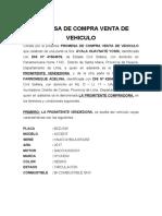 PROMESA DE COMPRA VENTA DE VEHICULO