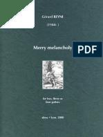 REYNE, Gérard • Merry melancholy (2, 3 or 4 guitars) (music score ensemble) (+mp3 & midi)