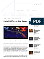 List of Different Star Types