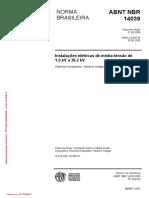 NBR 14039-2005 - Instalações Elétricas de Média Tensão  de 1,0 KV a 36,2 KV