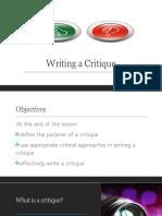 How Do We Write a Critique
